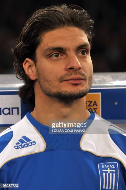 Greece national team striker Angelos Charisteas is pictured prior the FIFA World Cup 2010 firstleg playoff football match vs Ukraine on November 14...