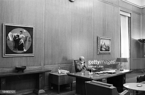 Greece November 2 the statesman Constantine Karamanlis Prime Minister during his visit to France Constantine Karamanlis in his office on the phone