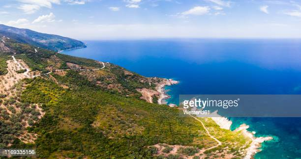 greece, pelion, pagasetic gulf, sound of trikeri, region volos, aerial view of coast pelion - peninsula de grecia fotografías e imágenes de stock