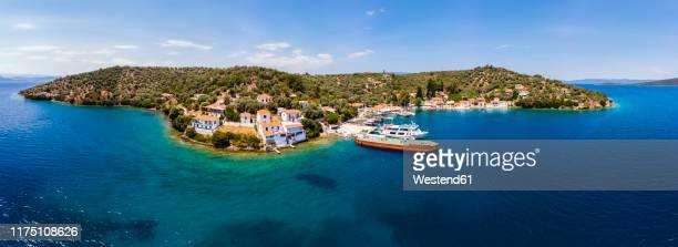 greece, pelion, pagasetic gulf, sound of trikeri, region volos, island pangias, aerial view of bay of paleo trikeri - volos stock pictures, royalty-free photos & images