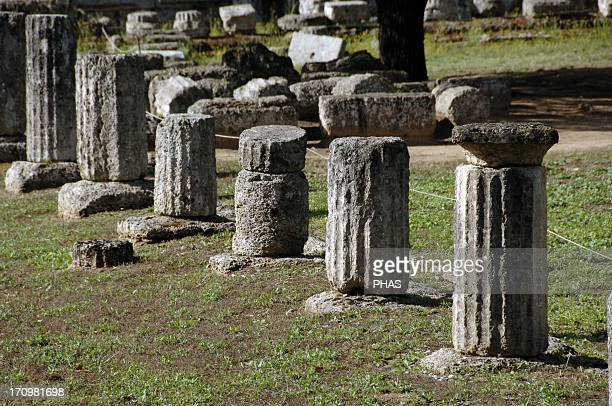 Greece Peloponesse Olympia Santuary of ancient Greece in Elis Gymnasium Hellenistic Period Ruins View