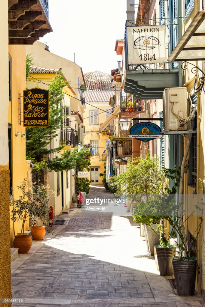 Greece, Peloponnese, Argolis, Nauplia, Old town, alley : Stock Photo