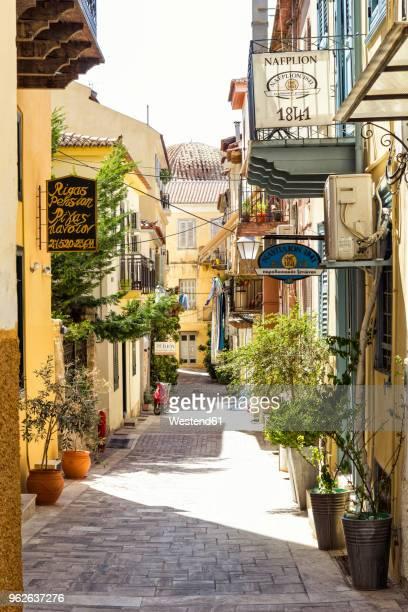 greece, peloponnese, argolis, nauplia, old town, alley - peloponnese stock photos and pictures