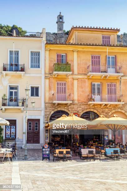 Greece, Peloponnese, Argolis, Nauplia, Old town, Syntagma square, Facades of houses