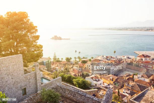 Greece, Peloponnese, Argolis, Nauplia, Old town, View from Akronauplia to Bourtzi Castle