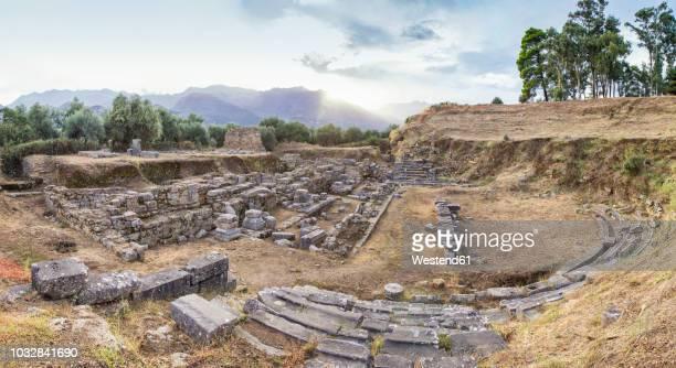 greece, peloponnese, laconia, sparta, amphitheatre - sparta fotografías e imágenes de stock