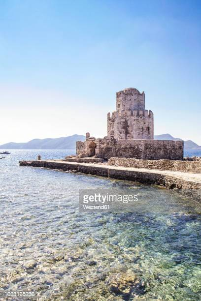 greece, peloponnese, messenia, methoni, fortress, tower burtzi and sapientza island in the background - peloponnese stock photos and pictures