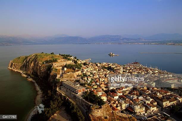 greece, peloponnesus, argolis, nafplio, elevated view, dawn - peloponnese stock photos and pictures