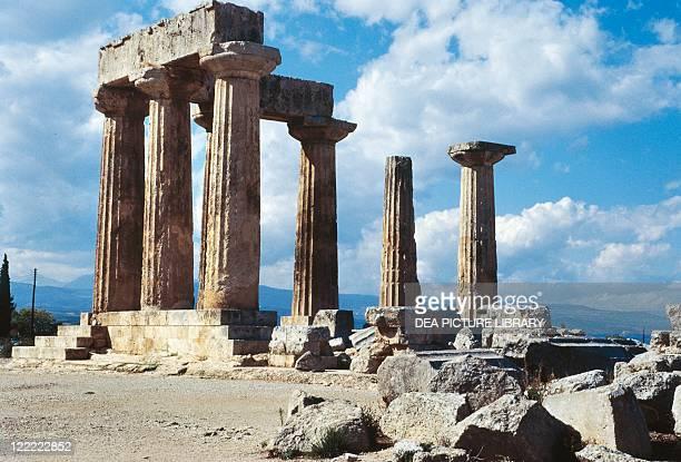 Greece Peloponnesus Corinth Temple of Apollo Doric columns Classical Greek architecture