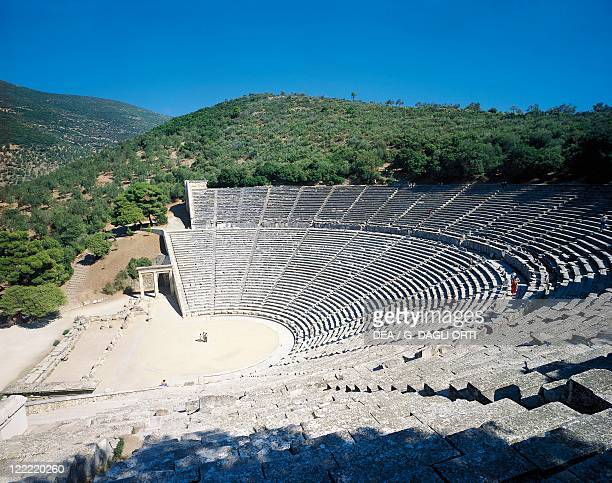 Greece Peloponnesus Epidaurus Greek theatre from the Hellenistic period built around 340 bC by the architect Policleto near the shrine of Esculapio