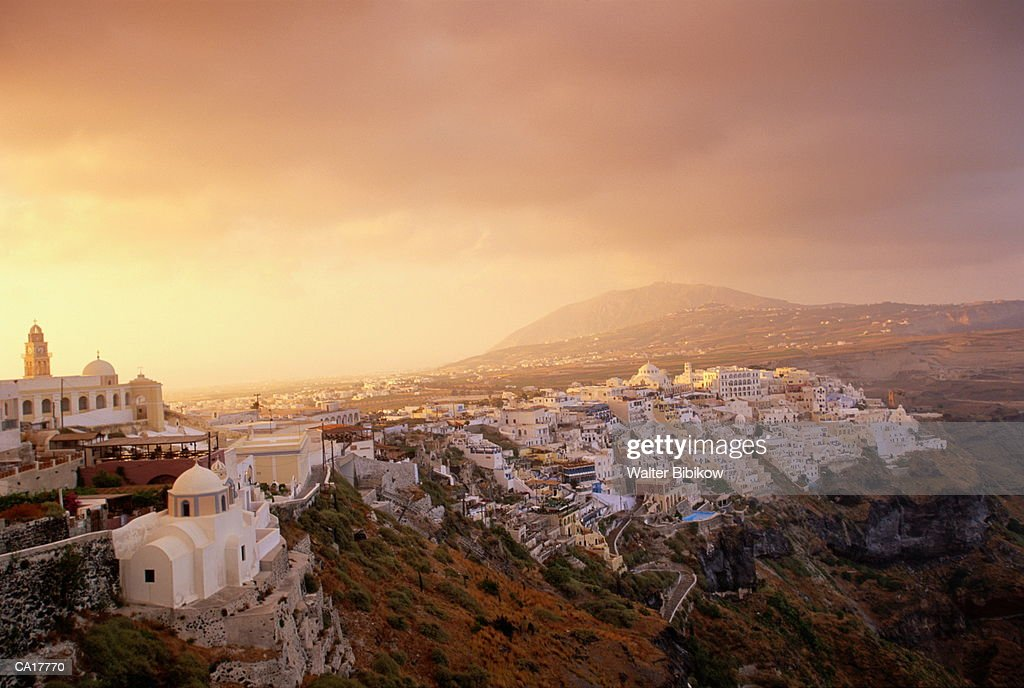 Greece, Peloponnesus, Thera, scenic, dawn : Bildbanksbilder