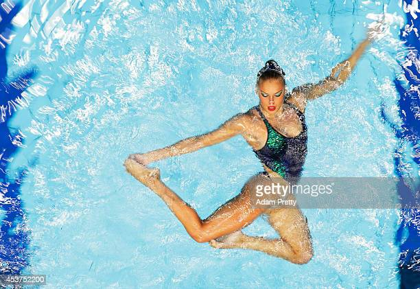 Greece perform during Women's Free Combination Synchronised Swimming final at EuropaSportpark on August 17 2014 in Berlin Germany