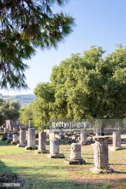 Ruins of ancient Olympia on Greeces Peloponnese peninsula.