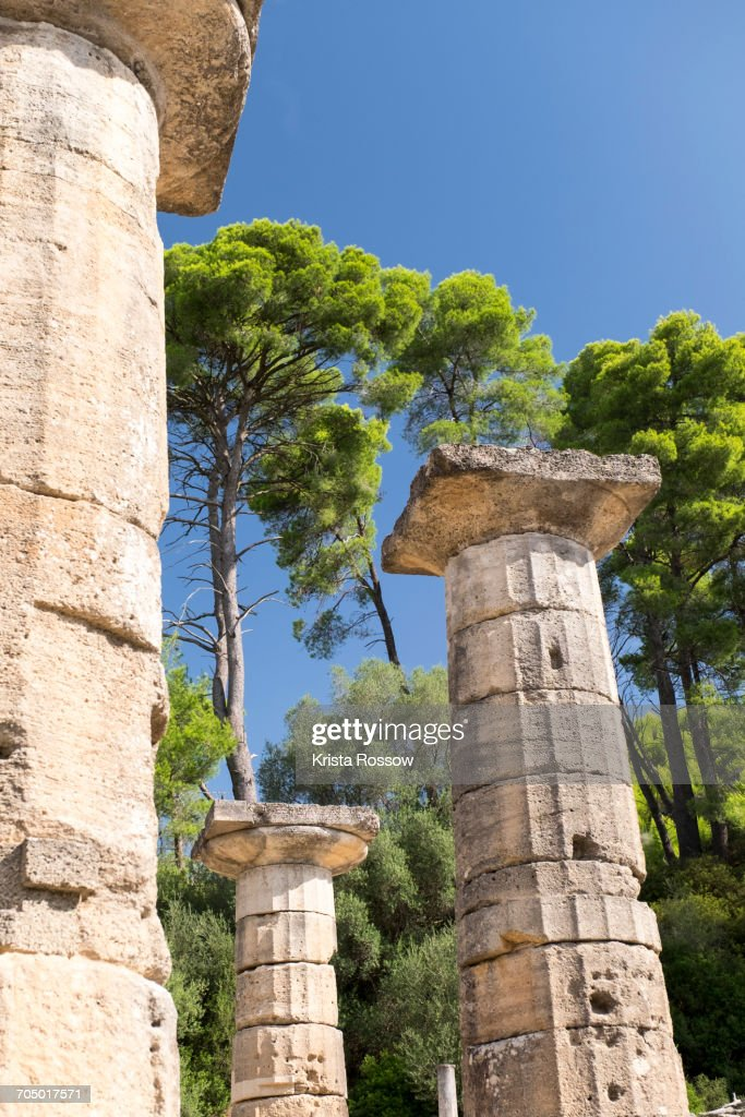 Ancient columns at Temple Of Hera on Greeces Peloponnese peninsula. : Stock Photo