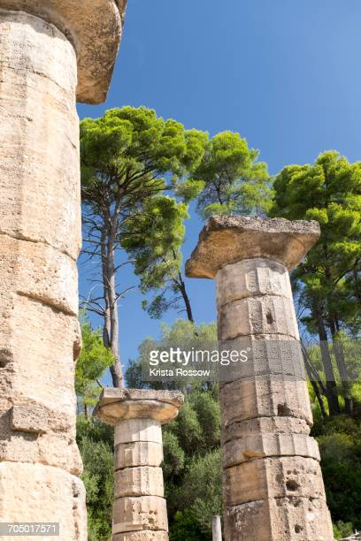 ancient columns at temple of hera on greeces peloponnese peninsula. - peloponnese stock photos and pictures