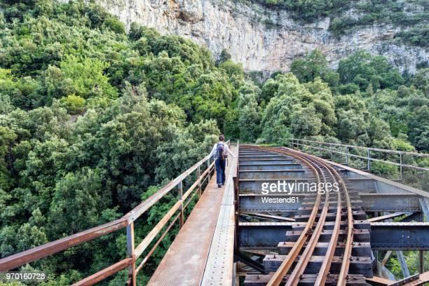 greece, pilion, milies, back view of man walking on bridge along rails of narrow gauge railway - pelion stock pictures, royalty-free photos & images