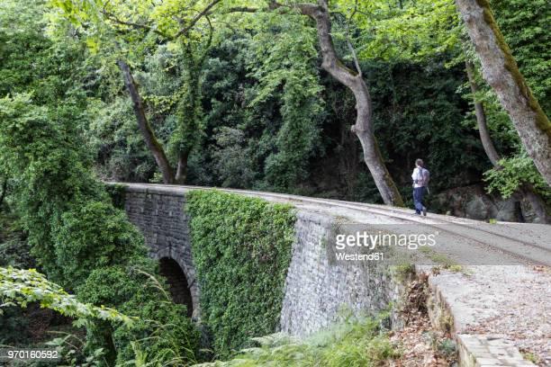 greece, pilion, milies, man walking along rails of narrow gauge railway - pelion stock pictures, royalty-free photos & images