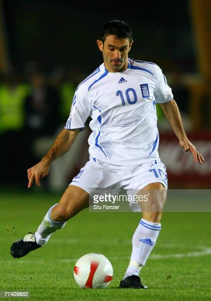 Greece player Georgios Karagounis passes the ball during the Euro 2008 Qualifying match between Turkey and Greece at Ali Sami Yen Stadium on October...