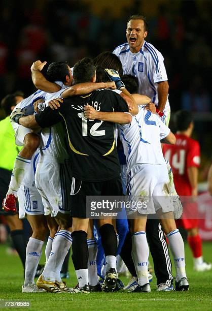 Greece players celebrates after their win and Qualification to the finals during the Euro 2008 Qualifying match between Turkey and Greece at Ali Sami...