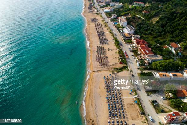 greece, preveza, aerial view of vrachos beach - epirus greece stock pictures, royalty-free photos & images