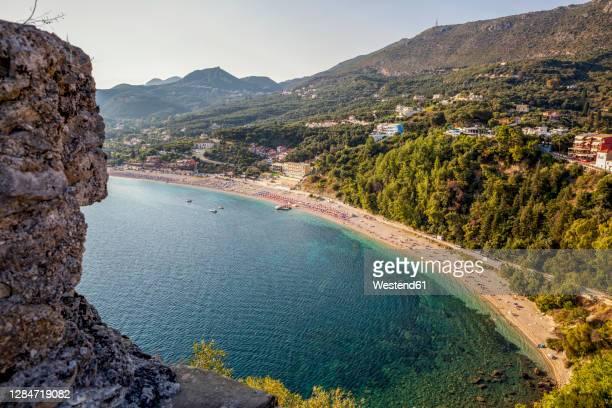 greece, preveza, parga, valtos beach in summer - epirus greece stock pictures, royalty-free photos & images