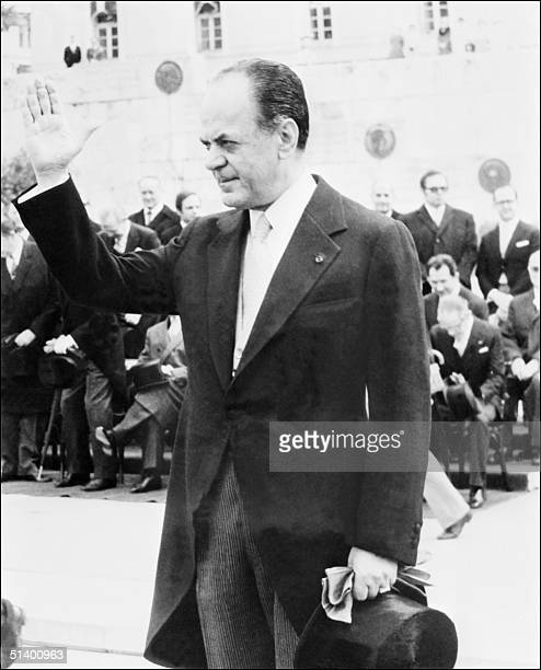 Greece Prime Minister Georgios Papadopoulos waves to the officials in March 1973 as the country celebrates the Independence Day Colonel Papadopoulos...