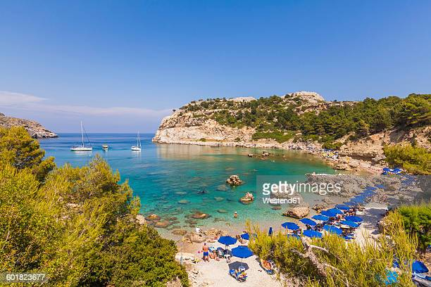 greece, rhodes, anthony-quinn-bay near ladiko - rhodes dodecanese islands stock photos and pictures