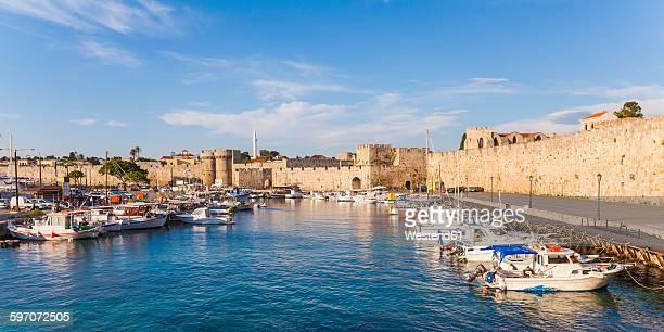 Greece, Rhodes, harbor, city wall and fishing boats