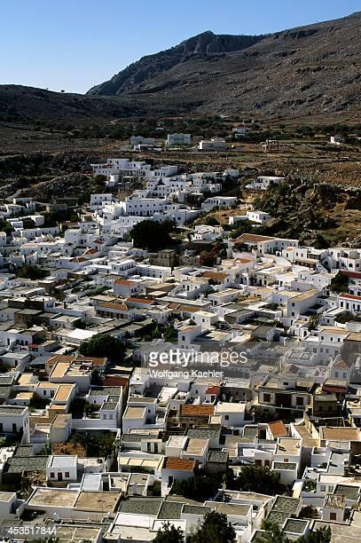 Greece Rhodes Lindos Overview Of Village