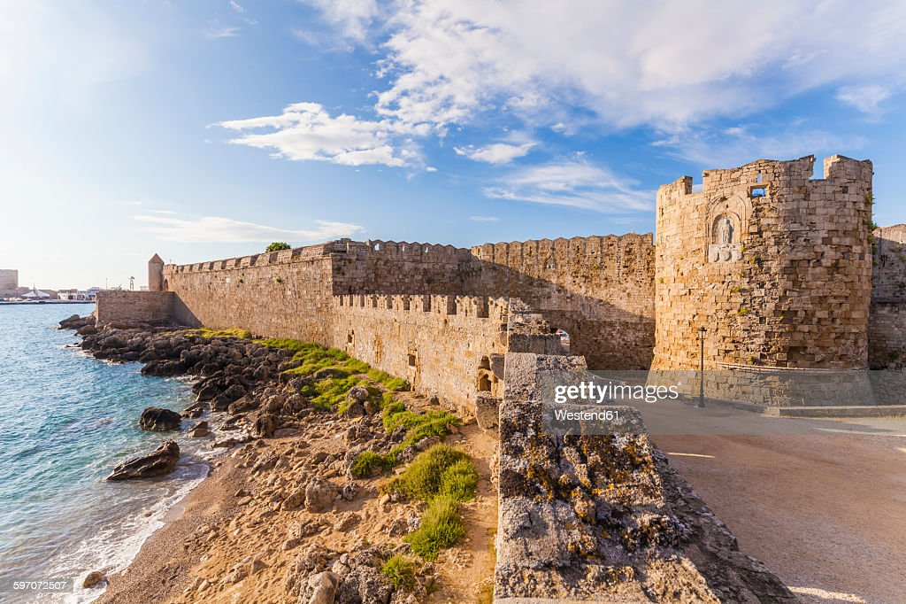 Greece, Rhodes, old town, city wall and Paul bastion : Stock Photo