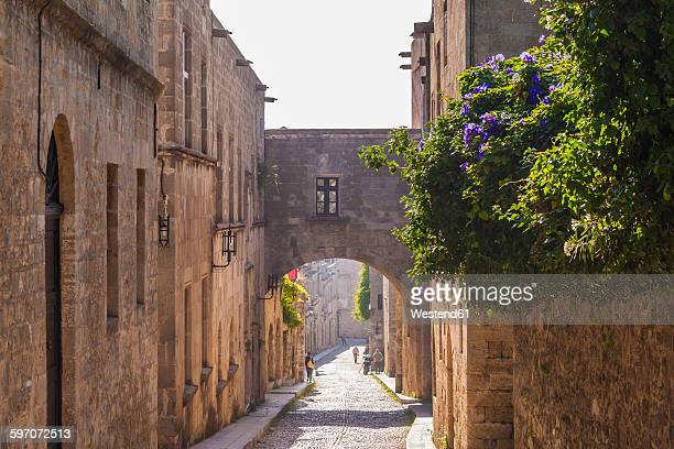 greece, rhodes, old town, medieval road odos ippoton - old town stock pictures, royalty-free photos & images