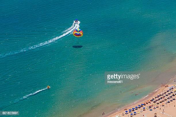 Greece, Rhodes, Parasailing and beach