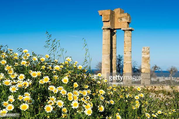 greece, rhodes, temple of apollo at the acropolis - lindos stockfoto's en -beelden