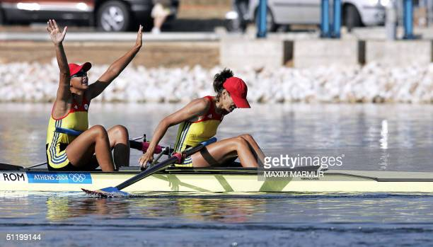 Romanian Georgeta Damian and Viorica Susanu celebrate after winning the Women's Pair final for the Athens 2004 Olympic Games at the Schinias Rowing...