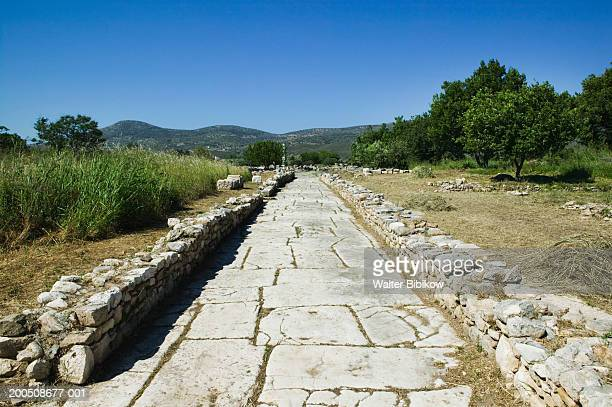 greece, samos, ireo, ruins of temple of the goddess hera - samos stock photos and pictures