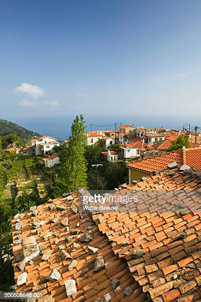 greece, samos, manolates, view across rooftops - samos stock photos and pictures