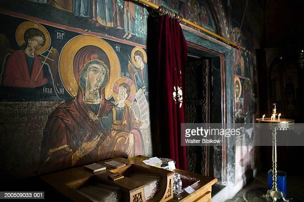 greece, samos, mili, moni megalis panagia monastery interior - samos stock photos and pictures