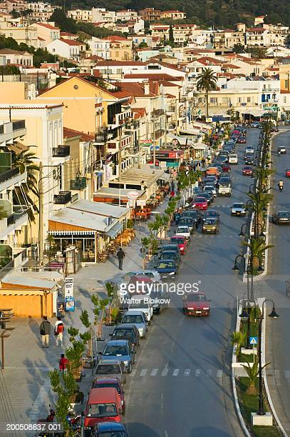 greece, samos, themistokleous sofuli street, elevated view - samos stock photos and pictures
