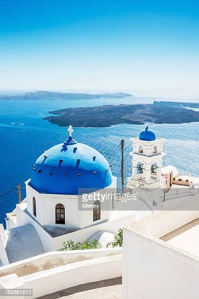ギリシャのサントリーニ島のカルデラの眺め
