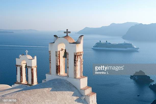 greece, santorini views - mediterranean sea stock pictures, royalty-free photos & images