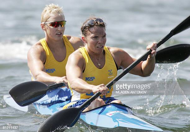 Sewdish SOfia Paldanius and Anna Karlsson in action to finish fourth during the Women's K2 500m heats for the Athens 2004 Olympic Games at the...