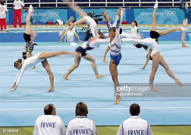 Soraya Chaouch of France practices 17 August 2004 at the Olympic Indoor Hall before the women's artistic gymnastics team final of the Athens 2004...