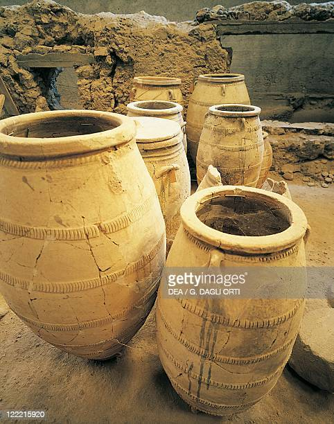 Greece Southern Aegean Cyclades Islands Santorini Island of Thera Akrotiri Archaeological site Large pithoi Storage jars