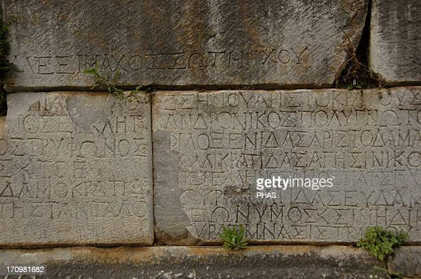 Greece Sparta Inscription on the stone Greek writing Old Theater Peloponnese