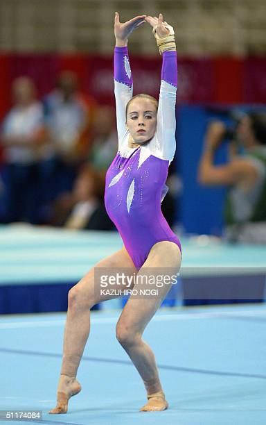Stephanie Moorhouse of Australia performs on the floor during the women's Artistic Gymnastics qualifications, 15 August 2004 at the Olympic Indoor...