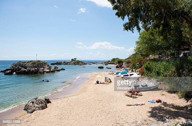 greece, stoupa, sandy beach - peloponnese stock photos and pictures