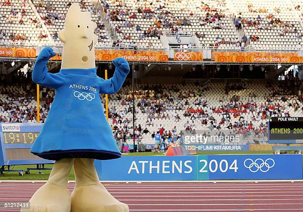 The Athens 2004 summer games official mascot is seen 24 August 2004, during the Olympic Games athletics competitions at the Olympic Stadium in...