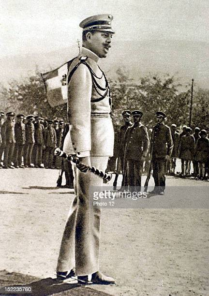 Greece World War I, King Constantine of Greece passing conscripts in review.