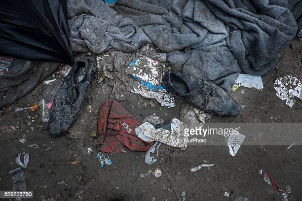IDOMENI GREECEAbandoned shoes after a rainstorm made for miserable conditions at Idomeni border camp on March 8 where more than 13000 people mainly...