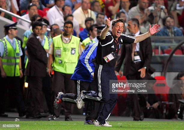 Greece's coach Otto Rehhagel celebrates